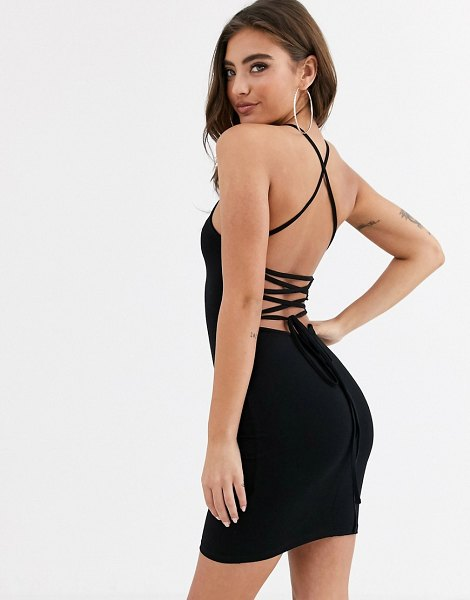 ASOS DESIGN going out strappy back mini dress in black in black