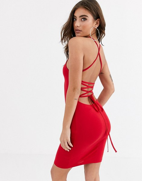 ASOS DESIGN going out strappy back mini dress in red in red