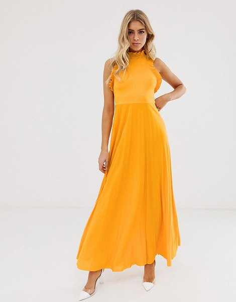 ASOS DESIGN high neck pleated maxi dress with ruffle detail-yellow in yellow