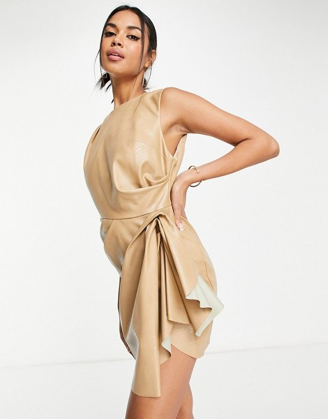 ASOS DESIGN high neck pu mini dress with tuck detail skirt in camel-brown in brown