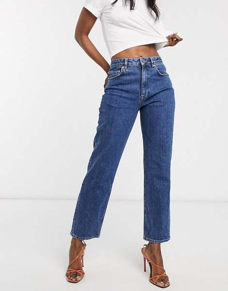 ASOS DESIGN high rise stretch 'slim' straight leg jeans in mid vintage wash-blue in blue