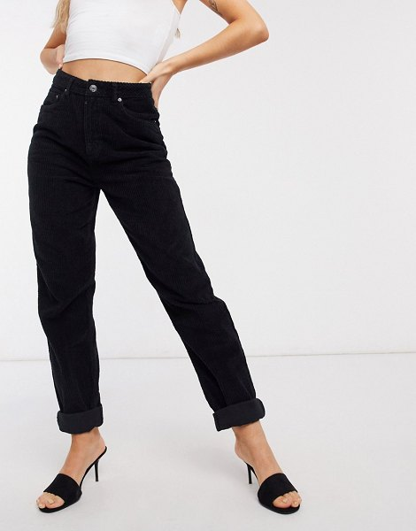 ASOS DESIGN high rise slouchy mom jeans in black corduroy in black