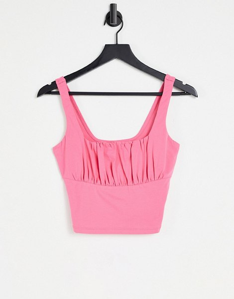 ASOS DESIGN hourglass ruched bust cami in pink in pink