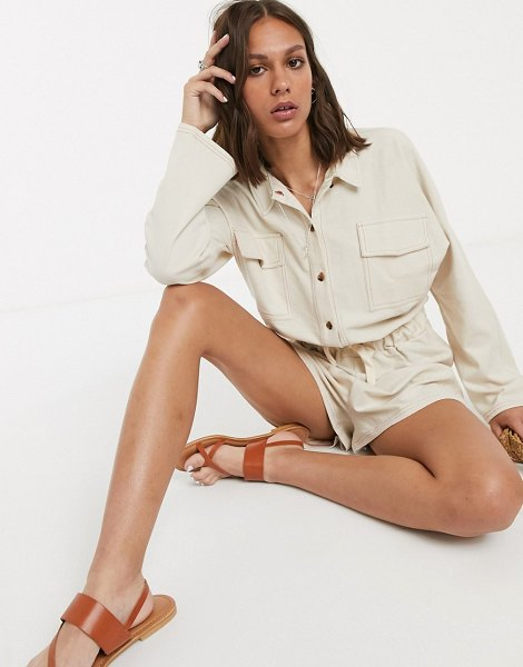 ASOS DESIGN jersey boiler romper with contrast stitching in cream