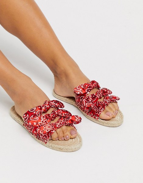 ASOS DESIGN joanna satin bow espadrille mules in bandana-red in red