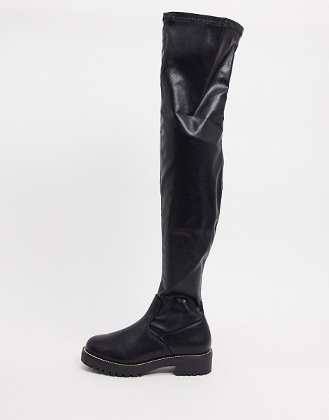 ASOS DESIGN kate flat over the knee boots in black in black