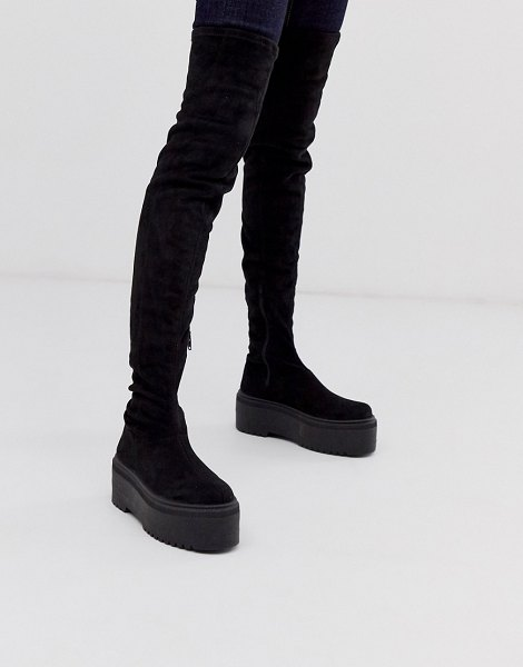 ASOS DESIGN katie chunky over the knee boots-black in black
