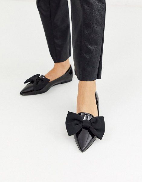 ASOS DESIGN lake bow pointed ballet flats in black in black