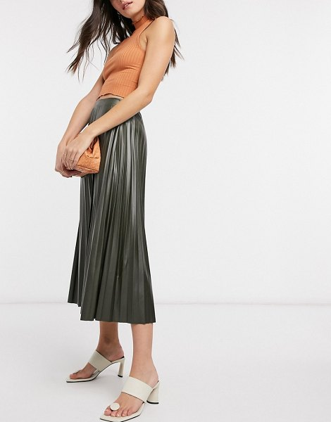 ASOS DESIGN leather look pleated midi skirt in khaki-no color in no color