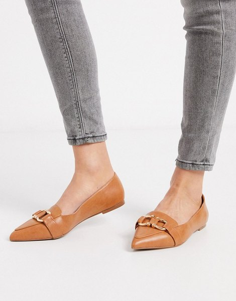 ASOS DESIGN legit snaffle loafer ballet flats in tan in tan