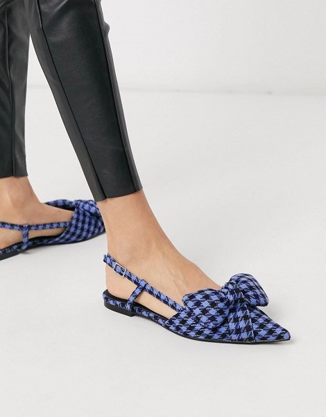 ASOS DESIGN liliana pointed bow slingback ballet flats in blue check in blue