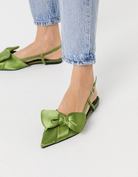 ASOS DESIGN liliana pointed bow slingback ballet flats in green in green