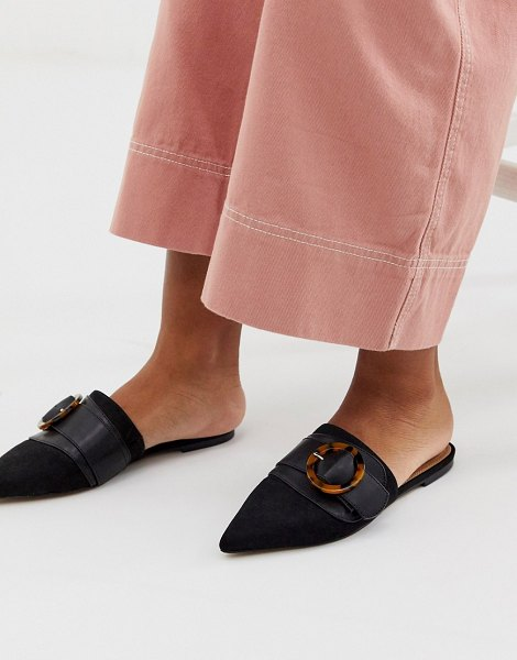 ASOS DESIGN limit buckle pointed mules in black in black