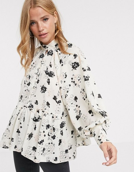 ASOS DESIGN long sleeve button front sheer top in ditsy floral print in multi