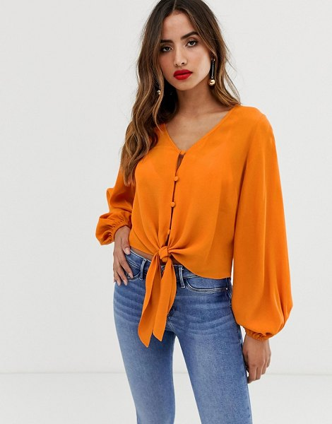 ASOS DESIGN long sleeve button front top with tie detail in orange