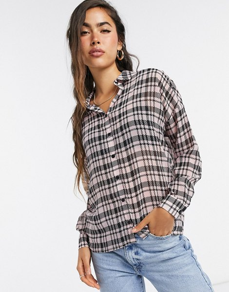 ASOS DESIGN long sleeve shirt in pink houndstooth-multi in multi