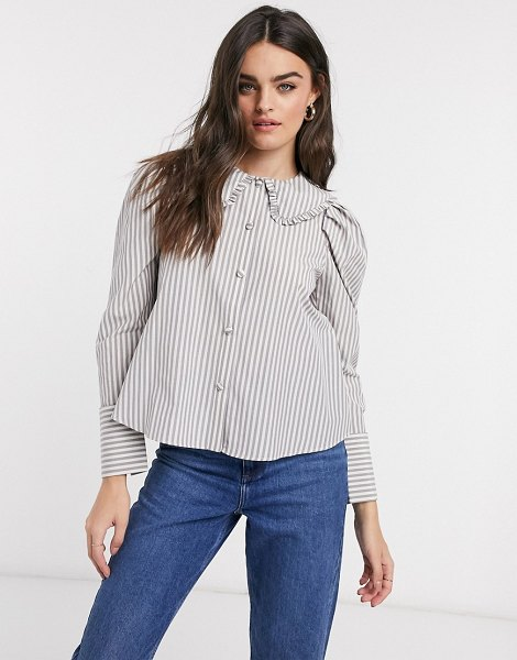 ASOS DESIGN long sleeve shirt with frill collar detail in stripe-multi in multi