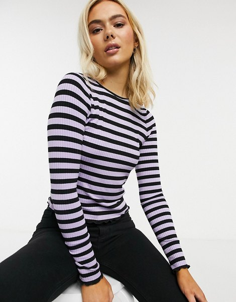ASOS DESIGN long sleeve top in rib with lilac and black stripe-multi in multi