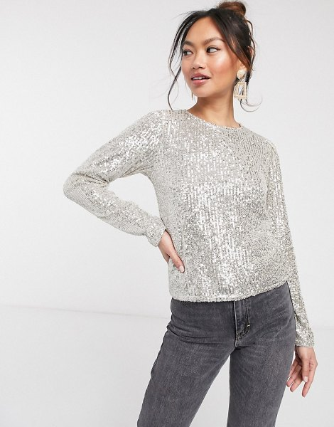 ASOS DESIGN long sleeve top with sequin embellishment in silver-gold in gold