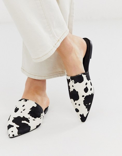 ASOS DESIGN lorne leather pointed mules in cow in cow
