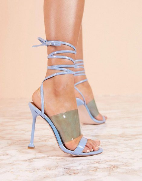 ASOS DESIGN luxe hot barely there heeled sandals in blue in blue