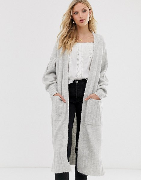 ASOS DESIGN maxi cardigan in fluffy yarn in grey