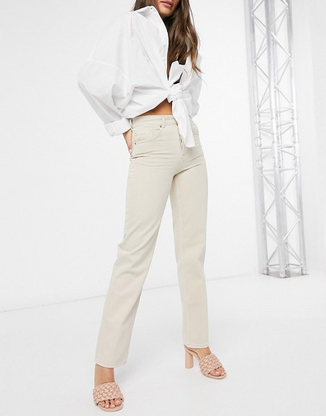 ASOS DESIGN mid rise '90's' straight leg jeans in buttermilk-yellow in yellow