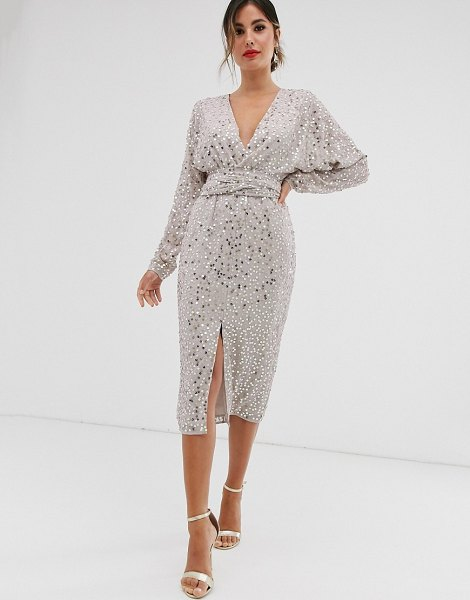 ASOS DESIGN midi dress with batwing sleeve and wrap waist in scatter sequin-multi in multi