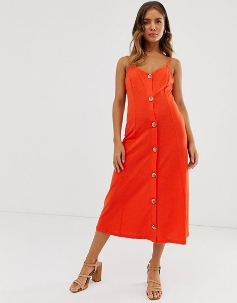 ASOS DESIGN midi slubby cami dress with faux wood buttons in red in red