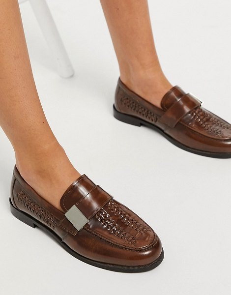 ASOS DESIGN mina leather weave loafer in brown in brown