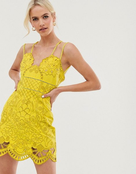 ASOS DESIGN mini dress with rope straps in cutwork in embroidery in yellow