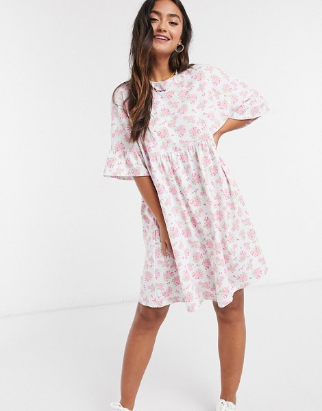 ASOS DESIGN mini smock dress with frill sleeve in pink and white floral print in pink