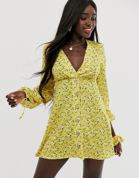 ASOS DESIGN mini textured ditsy print tea dress with tie cuff and matching scrunchie-multi in multi