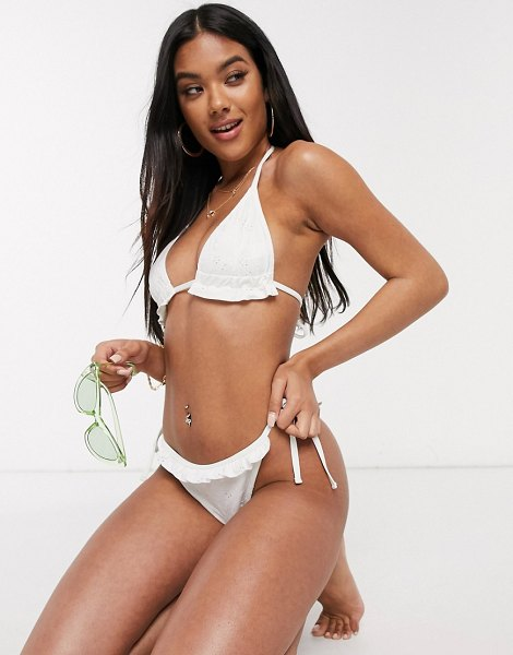 ASOS DESIGN mix and match broderie tie side bikini bottom in white in white