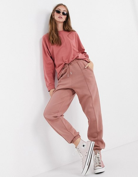 ASOS DESIGN mix & match co-ord oversized sweatpants with pintuck in rose-pink in pink