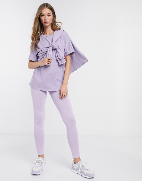 ASOS DESIGN mix & match deep waistband legging in lilac matching set-purple in purple