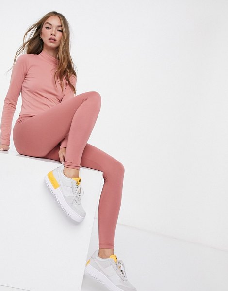 ASOS DESIGN mix & match leggings with deep waistband in rose matching set-pink in pink