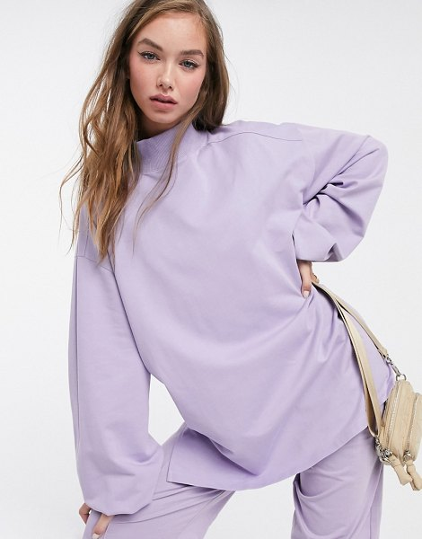 ASOS DESIGN mix & match oversized lightweight sweat co-ord with high neck and seam detail in lilac-gray in gray
