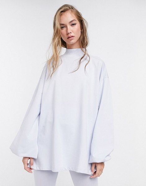 ASOS DESIGN mix & match oversized lightweight sweat matching set with high neck and seam detail in dusty blue in blue