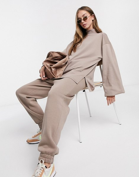 ASOS DESIGN mix & match oversized lightweight sweat matching set with high neck and seam detail in mushroom-beige in beige