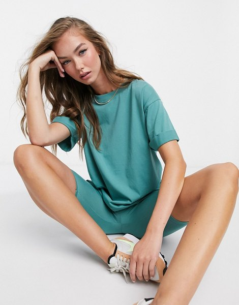 ASOS DESIGN mix & match relaxed t-shirt co-ord with roll sleeve in teal-green in green