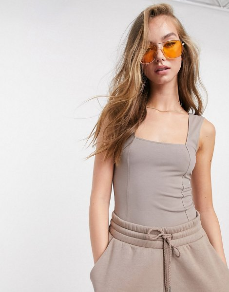 ASOS DESIGN mix & match square neck tank body co-ord with seam detail in mushroom-beige in beige