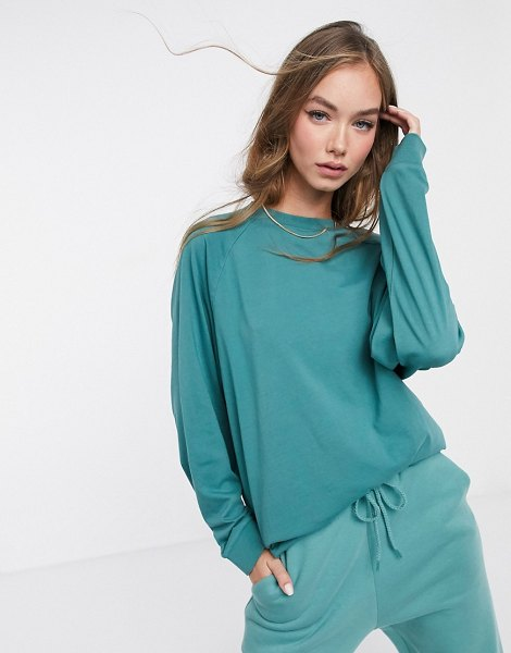 ASOS DESIGN mix & match super oversized top with wide sleeve in vintage wash in teal matching set-green in green