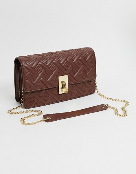 ASOS DESIGN multi way shoulder quilted cross body bag with hardware detail in brown in brown