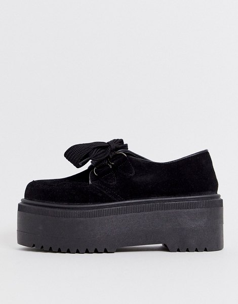 ASOS DESIGN murray chunky lace up flat shoes in black in black
