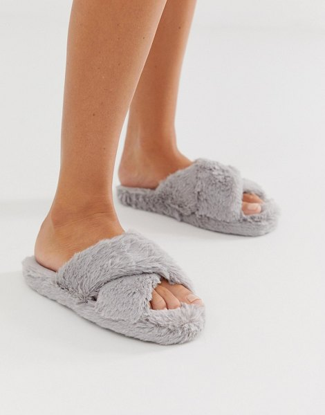 ASOS DESIGN neve cross strap slider slippers in gray in gray