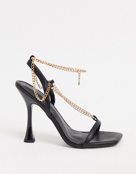 ASOS DESIGN nia heeled sandals with chain trim in black in black