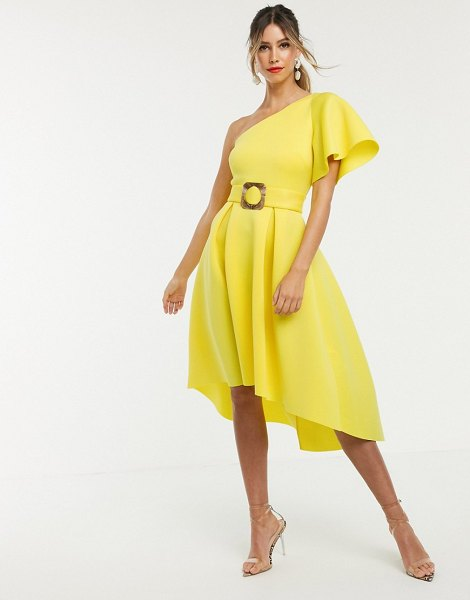 ASOS DESIGN one shoulder belted prom dress in yellow