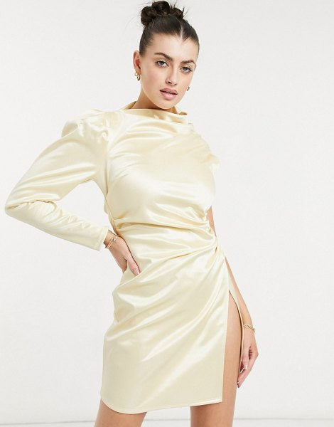 ASOS DESIGN one shoulder tuck wrap mini dress in champagne gold in gold