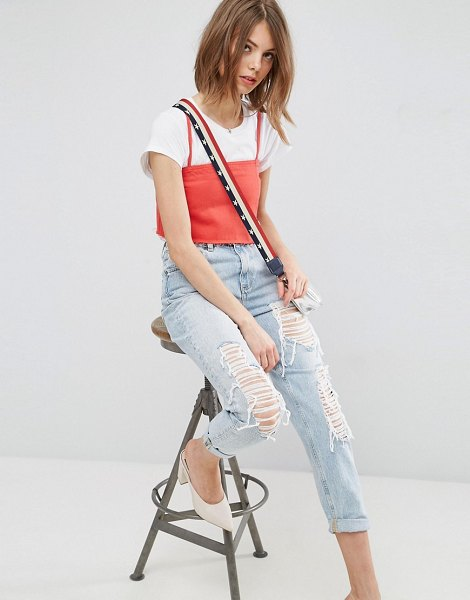 ASOS DESIGN original mom jeans in missouri light stonewash with rips and busts-blue in blue